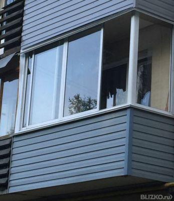 Остекление балкона от перилл г-образный plafen 1-камерный ст.