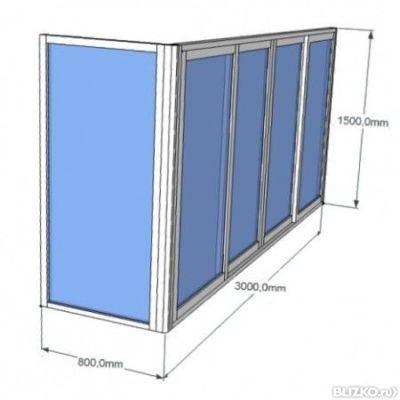 Алюминиевое остекление балкона г-образное, с выносом, бокова.